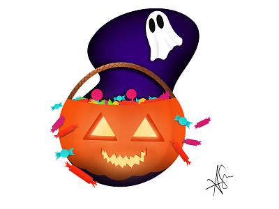 Trick Or Treat V2 spooky scary basket choclate candy spirit ghost pumpkin ipad procreate design illustration halloween design halloween