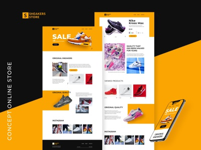 Concept Online Store header shoes sneakers yellow figmadesign ui figma color dribbble shot dribbbble design