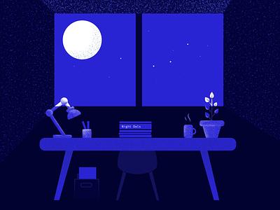 Night owls night mode blue monochromatic vector illustrator artdirection scene illustration