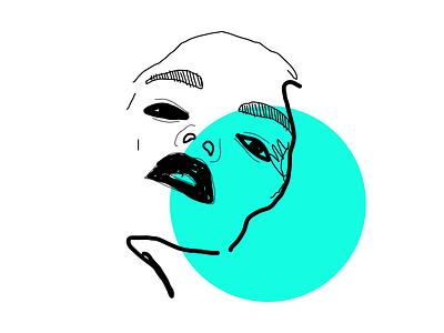 Free soul monochromatic portrait illustration portrait blue linework illustrator artdirection vector illustration