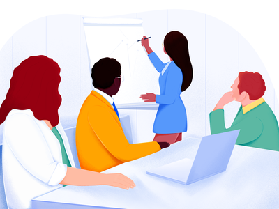 Company meeting gif design illustration