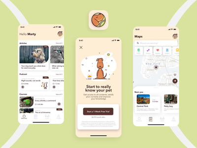 Pets Lover App | Designflows 2020 Contest uiux pet bending spoons discover maps paywall contest mobile app mobile design mobile ui uidesign ui design app icon icon iphone design app app design app designflows