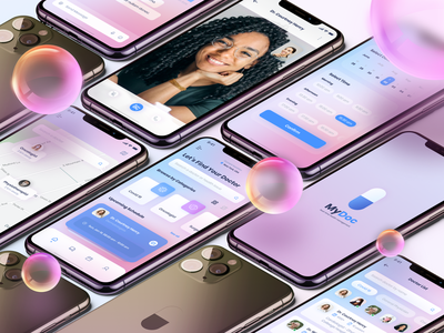 MyDoc App - Real-time health management app ui ux design ui medicine medical health app glassmorphism ios app app design application mobile ui mobile app design mobile app medical app doctor app health