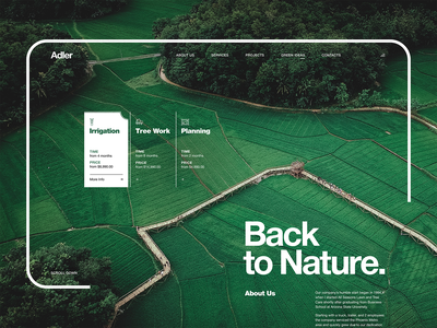 Agricultural Development Company 'Back to Nature' minimalism minimal uiux ui homepage home page main page landing page web design webdesign web website typography clean simple rice agriculture natural nature green
