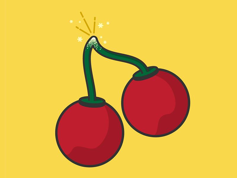 Cherry Bombs simple icon illustration firecrackers cherries