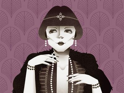 Louise Brooks actress flapper 1920 portrait illustration editorial illustration illustration louise brooks