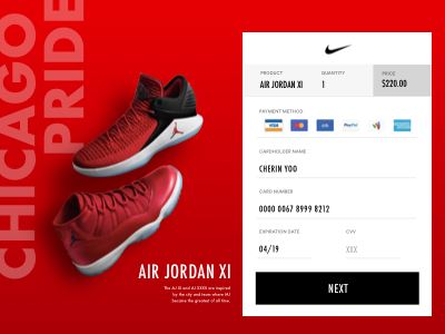 DAILY UI #002: Card Checkout nike credit card checkout daily100 dailyuichallenge