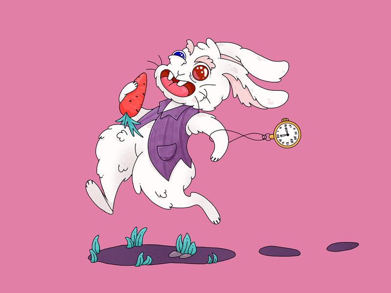 White Rabbit in Broken Phone Game carrot book illustration childrens illustration bunny animal character running rabbit alice in wonderland aliceinwonderland alice white rabbit character design characterdesign illustration character