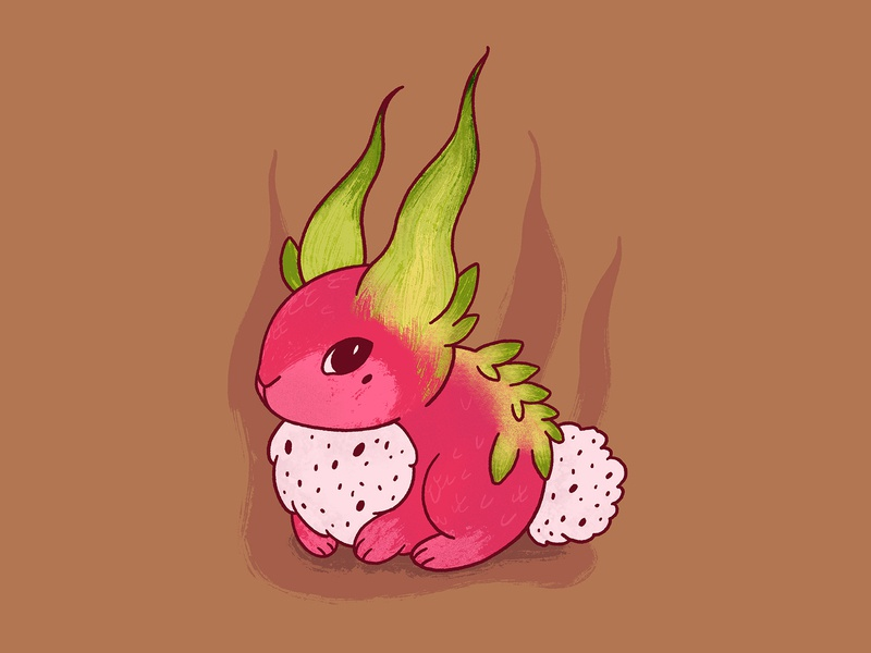 Rabbit as dragon fruit procreate 2d character 2d harvest autumn pitahaya pitaya illustration mascot character design characterdesign character illustraion rabbit dragon fruit dragon