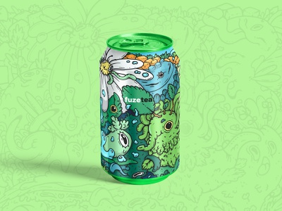 Tea can illustration with a bit of madness procreateart procreate fuzetea art monsters pattern print 2d character doodles packaging can tea package design character design illustration character characterdesign branding graphic design