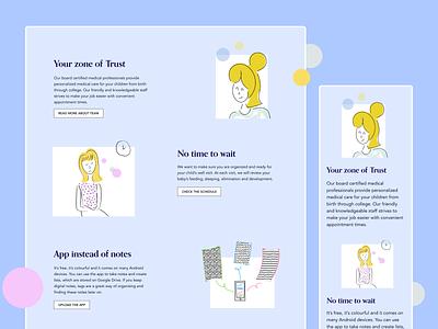 Pediatric Clinic Website medecine healthcare vector ux branding illustration mobile flat clean application ui