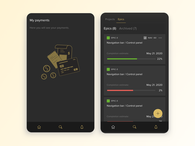 Mobile Project Manager clean mobile ux ui applications crm dark mode branding application app