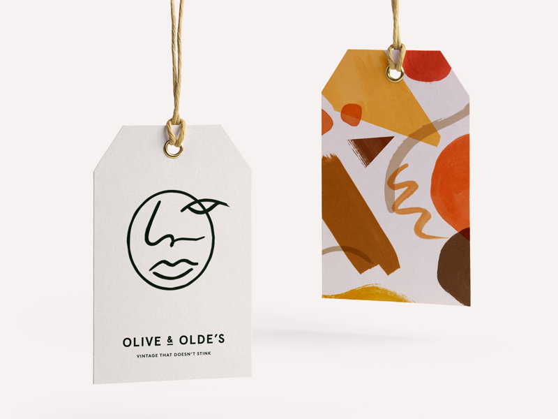 Swing tag for Olive and Olde's pattern packagingdesign identity
