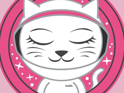 Debut Shot: Astro Cat cats pink space astronaut vector animal animal astro cat debut