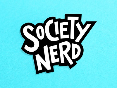 Society Nerd black and white blue bright fun branding logo nerd