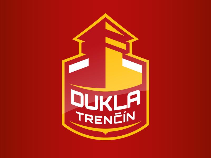 Dukla Trenčín logo design concept hockey stick puck flat player team ice hockey hockey castle design logo vector illustration