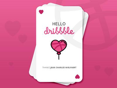 Hello Dribbble valentine heart debut hello