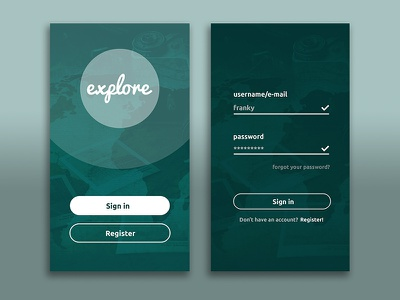 Sign In appdesign interface register signin ux ui