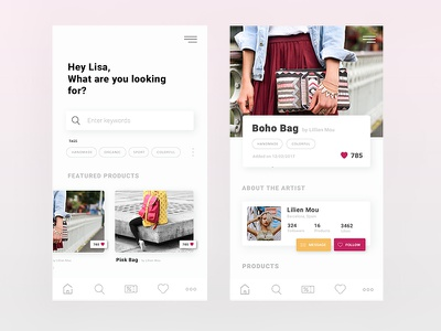 Handcraft social artists handcrafted appdesign app interface ux ui