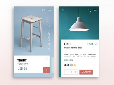 Furniture ecommerce minimal furniture app interface ux ui
