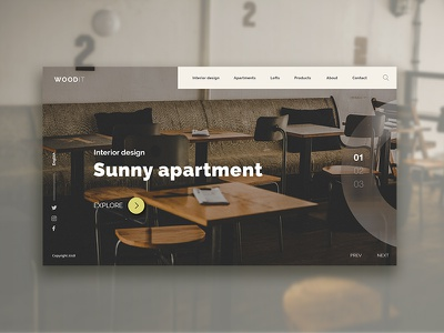Interior design landing page interface simple desktop web webdesign ux ui