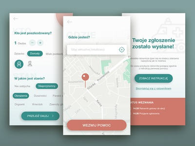 First Aid App user flow concept mobile rescue geolocation emergency ux ui app first aid