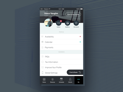 StyleSeat   Mobile Settings and Profile settings account profile navigation android ios mobile sketch interface ux ui