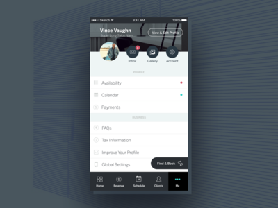 StyleSeat | Mobile Settings and Profile settings account profile navigation android ios mobile sketch interface ux ui