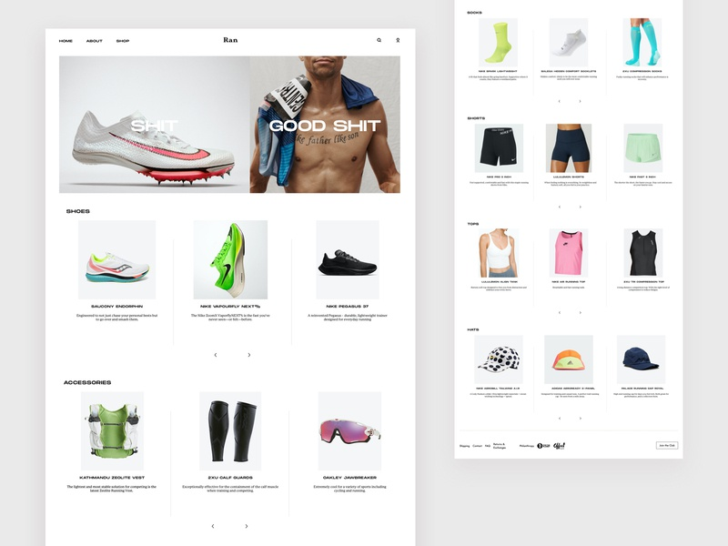 Running Gear Review Website - Product nike running running nike shop ecommerce website minimal flat web branding ui design