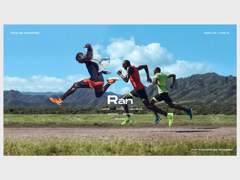 Running Gear/Shoes Review Website - Homepage illustration website web shop nike running nike minimal ecommerce design branding