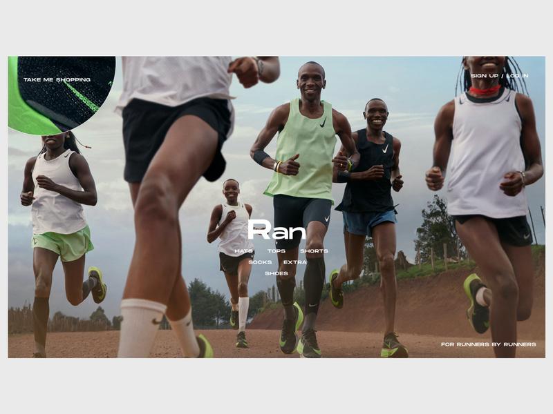 Running Gear Review Website - Homepage ui ux website web shop nike nike running minimal ecommerce design branding