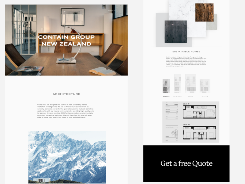 Contain Group New Zealand - Architecture Website minimal agency colour ux creative website web design branding ui