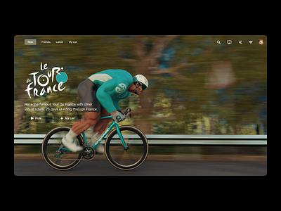 Virtual Cycling - UI Game Concept Le Tour de France virtual zwift dashboard workout training designer concept gaming game desktop design ux ui