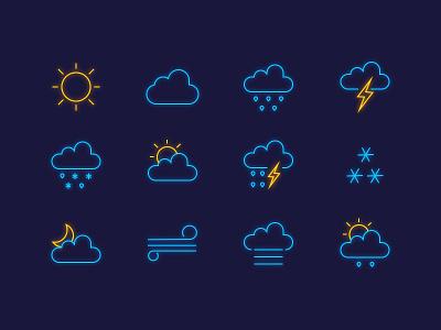 Weather Icons neon, rain icons wind snow sunrise sun moon luminescent cloud icon weather