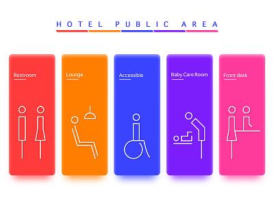 Hotel Public Area illustration icon ui hotel logo design vector building branding