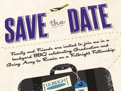 Grad/Bon Voyage Save the Date invitation typography retro