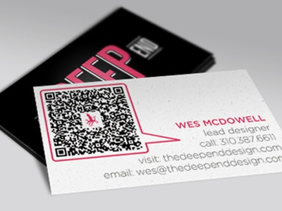 The Deep End business cards business card logo qr code