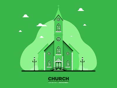 Monochromatic Flat Church illustration