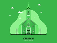 Monochromatic Church flat illustration
