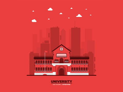 Monochromatic flat University illustration