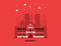 Monochromatic flat University illustration