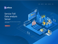 Flat Isometric Design City Of Computer Server