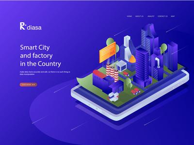 Flat Isometric Design Smart City