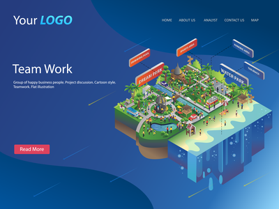 Flat Isometric Design City Of Waterpark 01