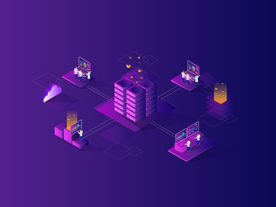 smart city server isometric