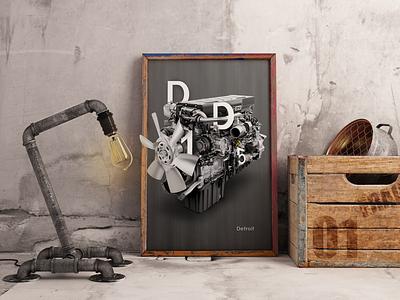 "Art work ""Detroit"" company photoshop design engine frame project полиграфия печать проект работа арт art work ворк детроит"
