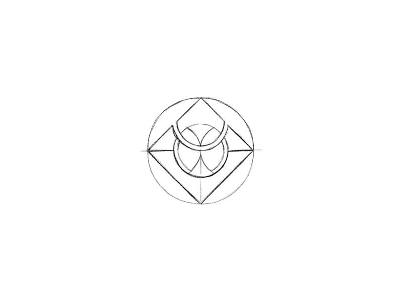 Symbol - WIP symmetry sketch stamp circle fashion emblem branding identity design icon mark typography logo