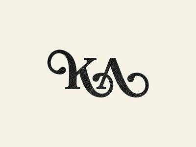 K/A monogram texture logo icon mark monogram k a typography script lettering swirls glyph