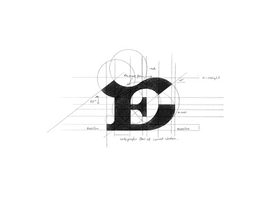 E - WIP process sketch custom logo design letter fashion monogram branding identity design lettering mark typography logo