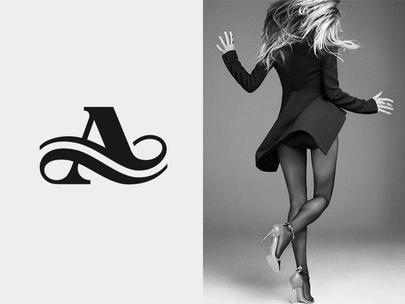 A  logo mark icon monogram letter a typography fashion flow